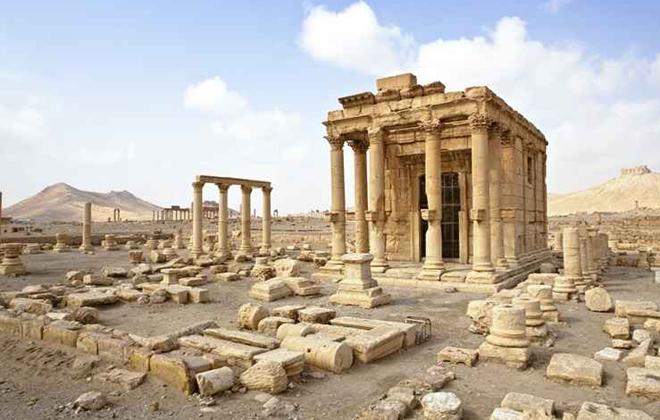 O Templo de Baal-Shamin, na Síria, foi destruído por jihadistas do Estado Islâmico em abril de 2015. Foto: Dario Bajurin/Reprodução