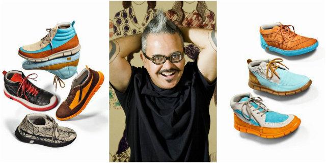 O estilista mineiro Ronaldo Fraga assinou sapatos em couro com textura de lonas. Fotos: Kildare/Divulgação (sapatos) e belohorizonte.mg.gov.br/Reprodução (Ronaldo)