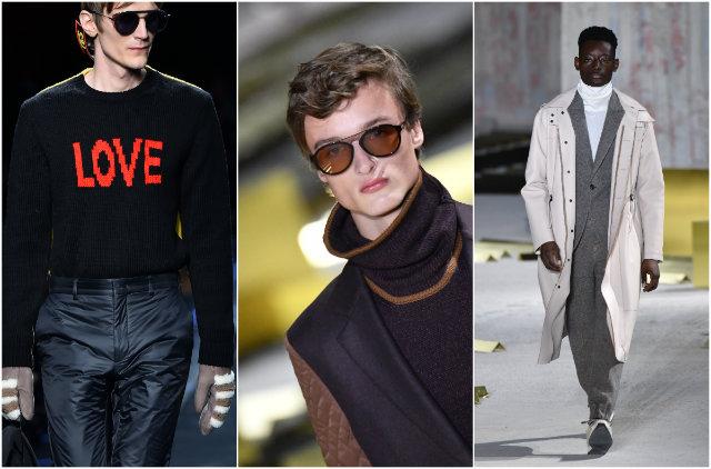 As golas altas, a sobreposição de peças, a mistura de tecidos e os casacos longos também foram tendências na temporada. Fotos: AFP Photos