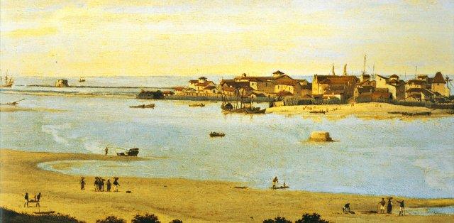 Local onde surgiu a primeira ponte do Brasil, no Recife. Imagem: Frans Post/Reprodução.