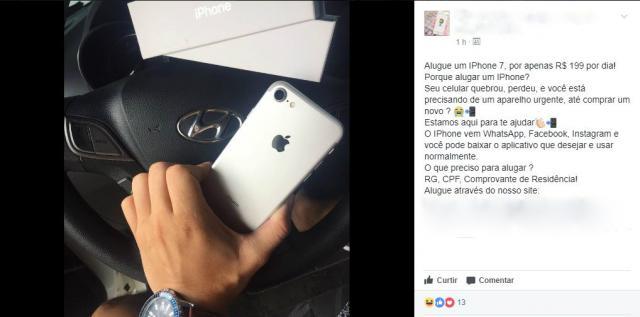 Loja anuncia aluguel de iPhones no Facebook - Foto: Reprodução/Facebook