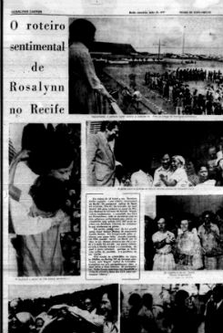 Matérias publicadas no Diario de Pernambuco há 40 anos durante visita da primeira dama dos EUA. Foto: Reprodução/ Arquivo DP
