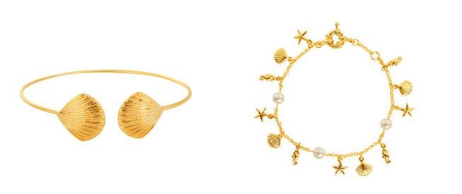 As pulseiras Concha e Estrela do Mar fazem parte da nova coleção da Simone Joias. Foto: Simone Joias/Divulgação