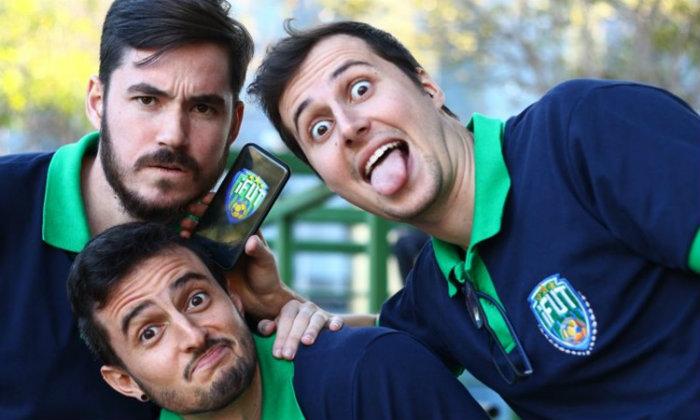 André Miguez, Mario Biondo e Hugo Monteiro (embaixo): rede social para quem gosta de futebol. Foto: Laís Nova/CB