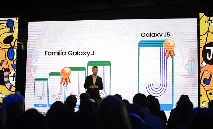 Antônio Quintas, vice presidente de visão de dispositivos móveis da Samsung Brasil, no lançamento dos novos aparelhos, em São Paulo. Foto: Marcela Cintra/DP.