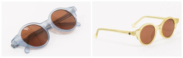 Os óculos, cujas lentes são colocadas à mão nas armações, têm versões em azul, amarelo e cor-de-rosa. Fotos: Farm/Divulgação