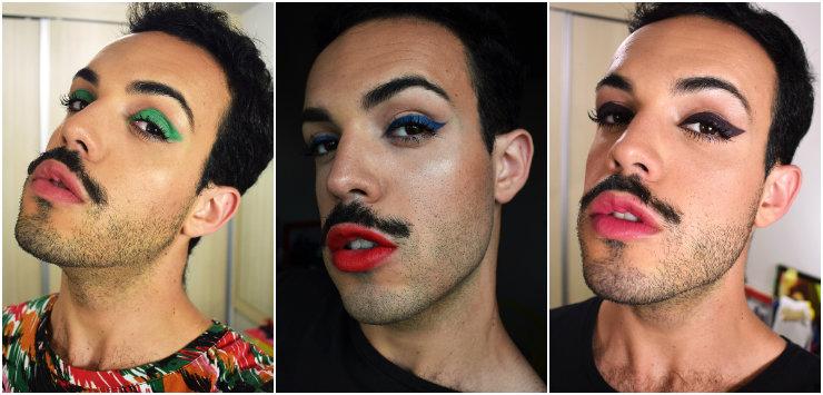 No Instagram, o pernambucano publica uma maquiagem por dia e serve de inspiração a meninos de todo o país. Fotos: Instagram/Reprodução da internet