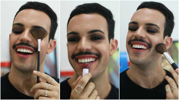 """O jovem foi """"construindo"""" seu arsenal de maquiagem por conta própria: """"O primeiro produto foi uma base líquida da marca Quem Disse, Berenice?, com cobertura bem leve"""", ele recorda. Fotos: Gabriel Melo/Esp. DP/DA Press"""