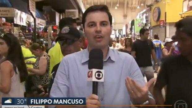 Repórter fazia transmissão ao vivo para o SP1. Foto: Globo/Reprodução