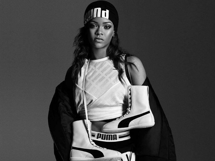 Rihanna é uma das estrelas da Puma, o que amplia o público-alvo das propagandas, considerando que os jovens usam roupas esportivas em diversas ocasiões. Foto: Puma/Divulgação