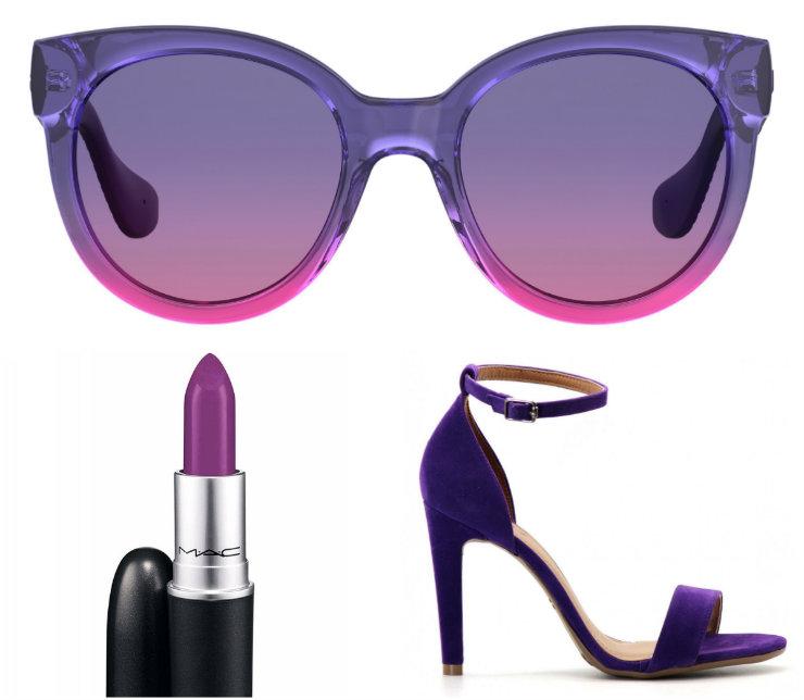 Acessórios, maquiagem, calçados e roupas em tom Ultra Violet devem ganhar espaço em ruas e vitrines ao longo do ano. Fotos: Havaianas/Divulgação; MAC/Divulgação; Zattini/Divulgação