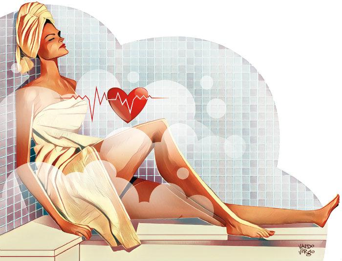 Os cientistas observaram que, imediatamente após o banho de sauna, a pressão arterial sistólica (quando o coração se contrai) e a diastólica (quando o órgão relaxa) dos voluntários foram reduzidas.