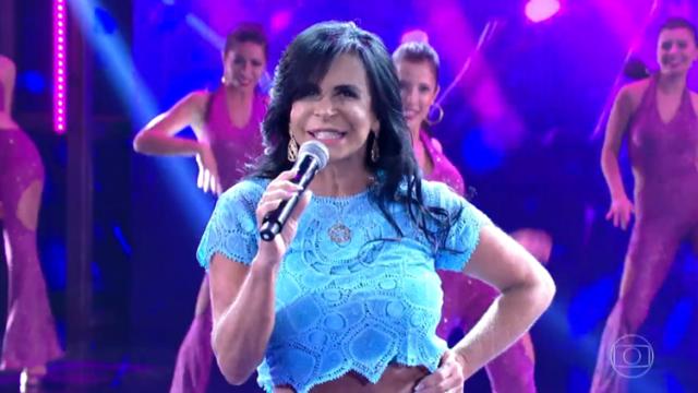 Gretchen cantou seus sucessos no programa dominical. Foto: Globo/Reprodução