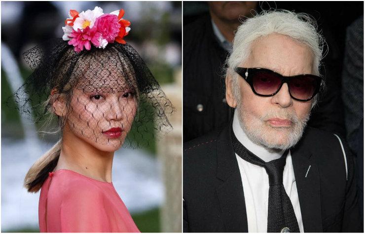 Princesas de rosa no jardim francês da Chanel chamaram a atenção, mas o visual do estilista, agora com barba, roubou a cena. Fotos: (Desfile) AFP/Divulgação e (Karl) Getty Images/Divulgação