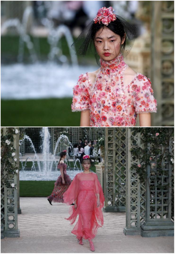 As modelos, com flores, arranjos e redes, caminharam com aura de princesas. Fotos: Patrick Kovarik/AFP/Divulgação