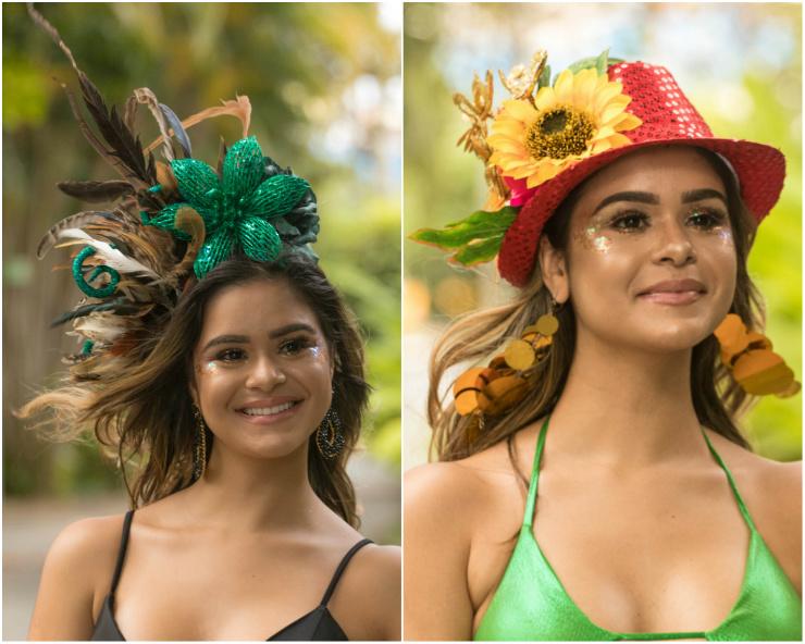 Os arranjos de cabeça transformam as produções comuns em fantasias, como as criações de Juana Moura. Fotos: Luiz Fabiano/Divulgação