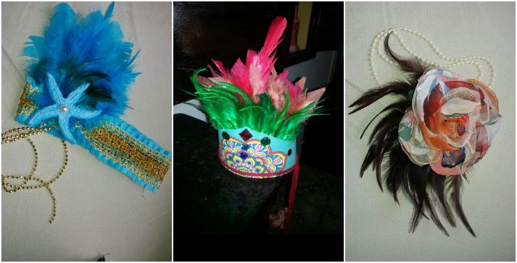 Cocares, tiaras e acessórios podem incrementar os looks carnavalescos. Nas fotos, criações de Adriana Pio. Fotos: Adriana Pio/Divulgação