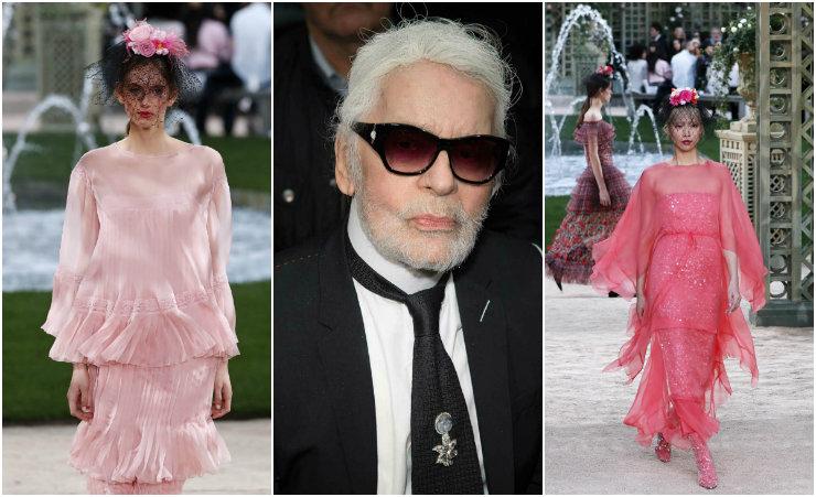 O jardim fúcsia da Chanel disputou atenção com o novo visual de Karl Lagerfeld, agora com barba. Fotos: AFP/Divulgação (desfile) e Getty Images/Divulgação (Karl)