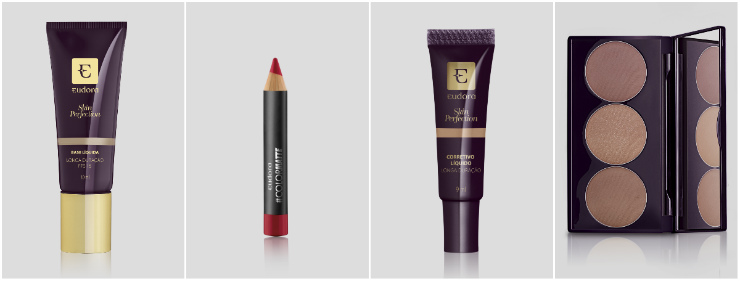Maquiagem prática para os dias de folia tem boca vermelha com batom Cereja Top. Nas fotos, os produtos sugeridos por Lavoisier. Fotos: Eudora/Divulgação