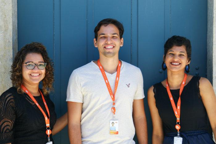 Os estudantes Lai Amorim, Victor Miranda e Jéssica Lima. Foto: Marlon Diego/Esp DP