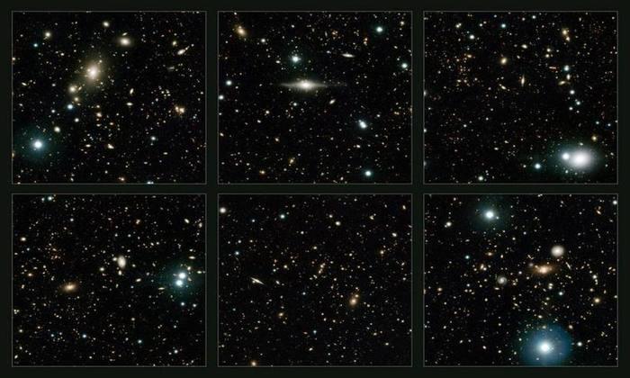 Constelação de Sextans, a região celeste mais próxima da Terra observada no novo trabalho. A idade das galáxias pode ser estimada pelo chamado desvio do vermelho. Foto: ESO/UltraVISTA team