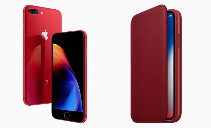 Os novos aparelhos 8 e 8 Plus possuem traseira vermelha de vidro e frente na cor preta, diferente da versão anterior. Foto: Apple/Divulgação