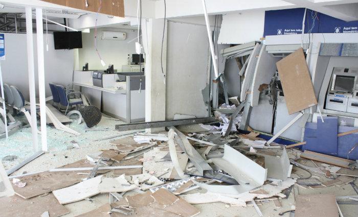 Dos quatro caixas eletrônicos, apenas um foi retirado o dinheiro. Foto: Polícia Federal/Divulgação