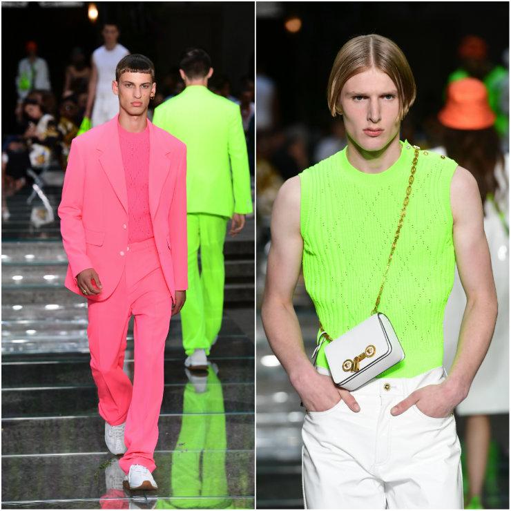 """A coleção da Versace teria sido pensada para """"homens que quebram as regras e fazem suas próprias escolhas de vestimenta"""". Foto: Miguel Medina/AFP"""
