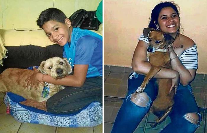 Thiago Ariel com Fofão e Renata com Lodi: cachorros agora fazem parte das famílias. Foto: Batalhão de Polícia Militar Ambiental/Divulgação; Arquivo Pessoa