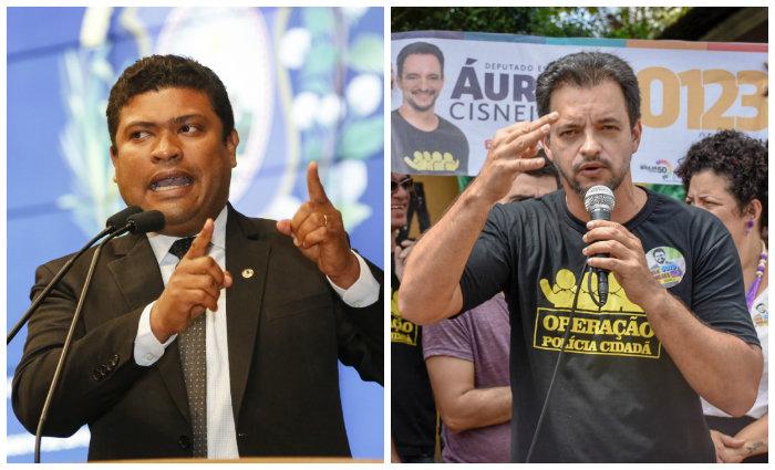 Joel da Harpa (e) e Aureo Cisneiros (d) são dois nomes que protagonizam a disputa por uma vaga na Assembleia Legislativa. Joel é PM, Aureo é policial civil (Fotos: Roberto Soares e Lucas Tiné/Divulgação/Ascom)