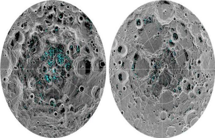 Segundo a Nasa, a maior parte do gelo descoberto está nas crateras, do lado norte, pois ali as temperaturas são baixíssimas. Foto: Divulgação/Nasa