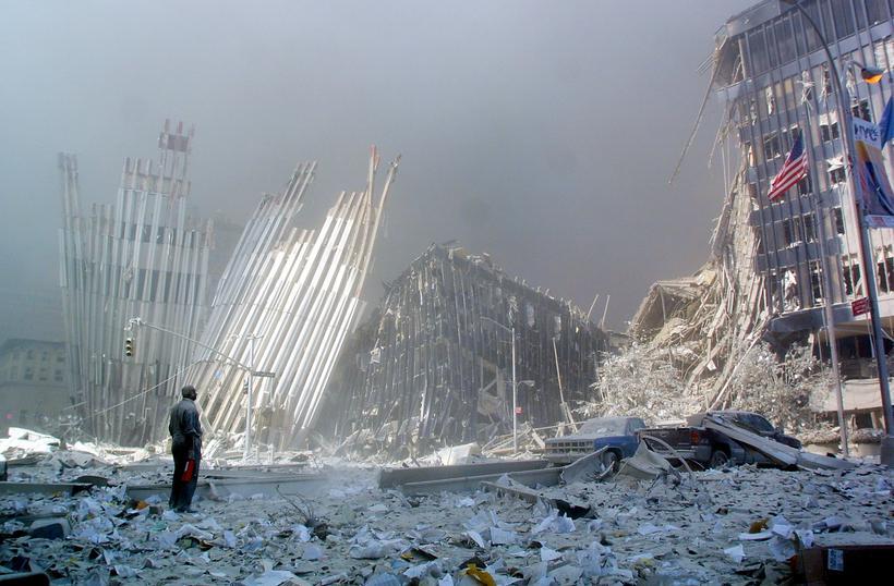 Destroços do World Trade Center, atacado em 11 de setembro de 2001. Foto: DOUG KANTER / AFP FILES / AFP