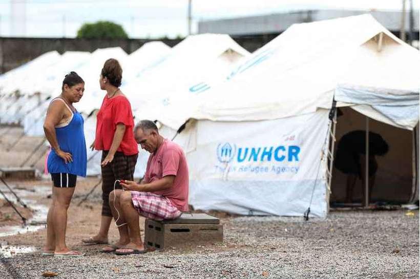 Abrigo para imigrantes em Boa Vista: dos 85 mil venezuelanos que chegaram ao país, 54 mil pediram refúgio. Foto: Marcelo Camargo/Agência Brasil