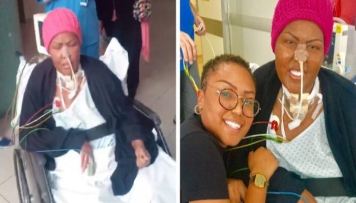 Deise recebendo os parabéns da equipe do hospital e ao lado de sua filha, Talita. Foto: Reprodução/Instagram