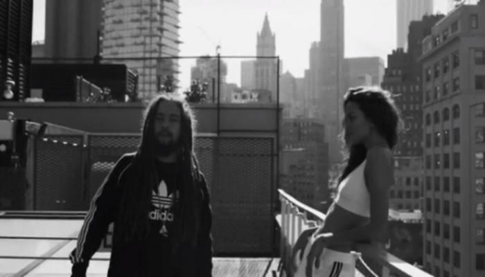 Barbara Fialho e Jo Mersa Marley durante gravação do clipe da música 'Um Beijo'. Foto: Reprodução/Instagram