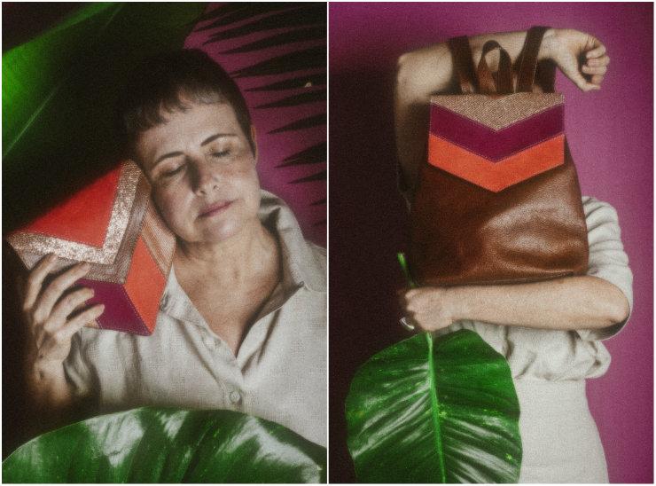 Bolsas e cadernos Por Gabi Fonseca têm design atemporal e misturam texturas e cores. Fotos: Rebeca Patricio e Fernanda Leal/Divulgação