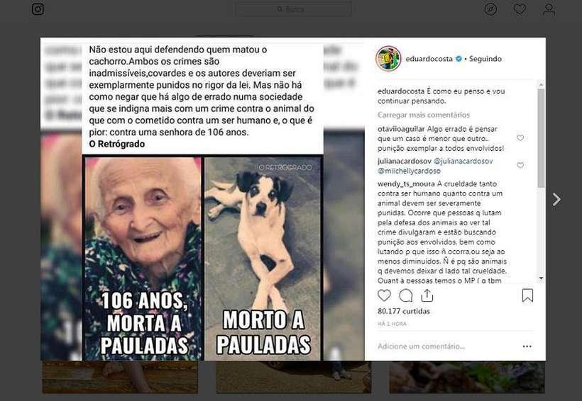 O cantor Eduardo Costa foi criticado pelos fãs ao dizer que a morte da cadela em SP não se compara ao assassinato da idosa de 106 anos. Foto: Instagram/eduardocosta/Reprodução