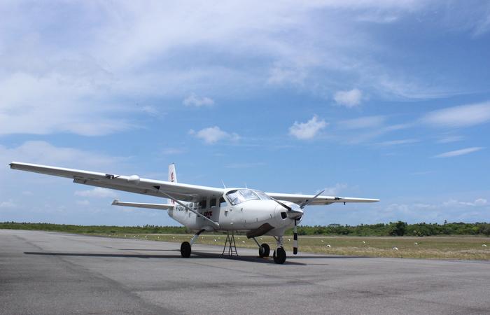 A aeronave Caravan C208A veio de São Paulo e tem capacidade para levar até 15 paraquedistas em um único voo.  Foto: Jefferson Belarmino/Cortesia