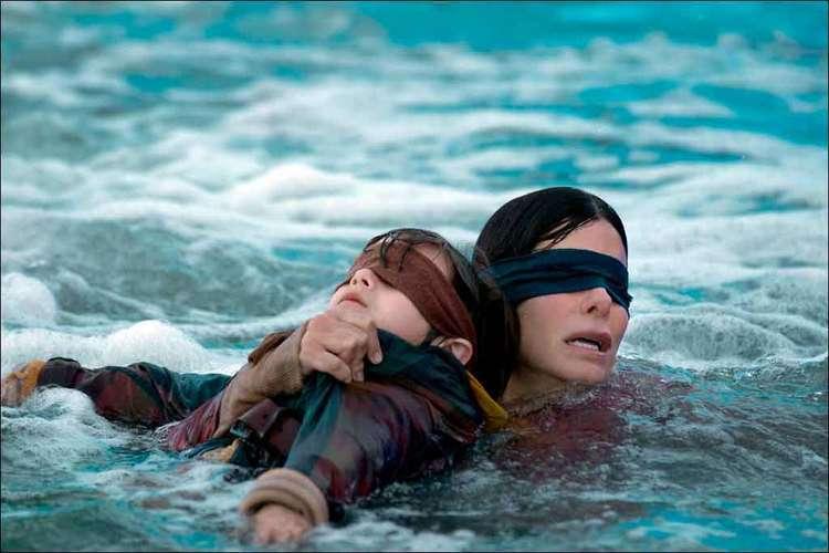 Trecho do filme 'Bird Box', uma produção Netflix interpretado por Sandra Bullock. Foto: Netflix/Divulgação