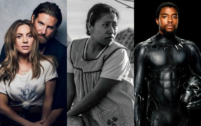 Os prêmios serão entregues no dia 24 de fevereiro. Foto: Nasce Uma Estrela, Roma e Pantera Negra/Divulgação