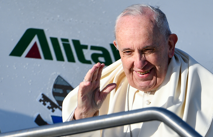 Esta é a terceira JMJ do papa Francisco, de 82 anos, e a primeira organizada em um país da América Central. Foto: Vincenzo PINTO / AFP