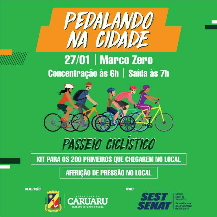 Pedalando na Cidade tem concentração no Marco Zero de Caruaru. Arte: Divulgação / Prefeitura de Caruaru.