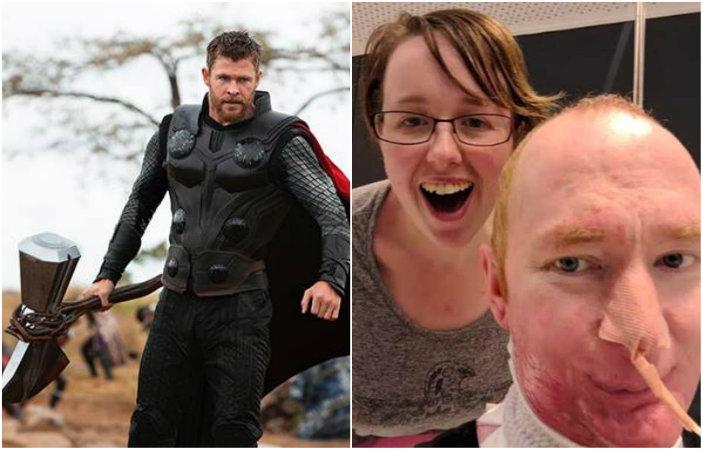 O ator Chris Hemsworth, que interpreta o personagem Thor na franquia, soube da história de Alexander e se empenhou em ajudá-lo. Fotos: Divulgação e Reprodução/Twitter