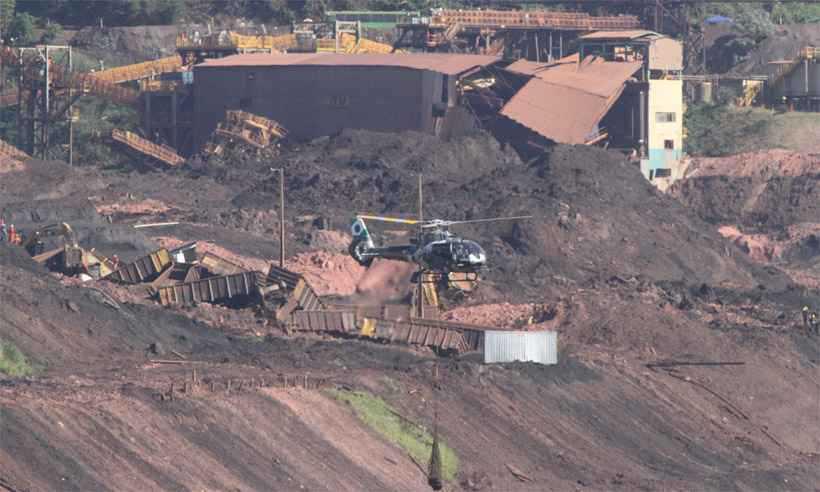 Área da Vale invadida pela lama da barragem que se rompeu em 25 de janeiro: ainda há funcionários da mineradora entre os desaparecidos. Foto: Edésio Ferreira/EM/D.A Press