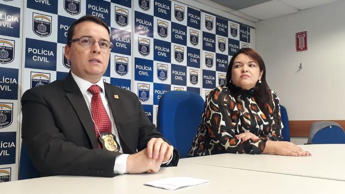 Delegado Germano Cunha - Titular Delegacia de Proteção ao Idoso, e a delegada Polyanne Farias - Gestora DIRESP. Crédito: Polícia Civil