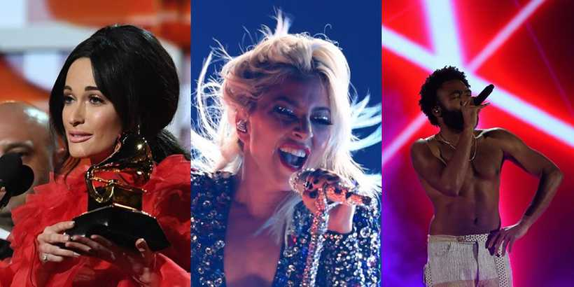 Kacey Musgraves, Lady Gaga e Childish Gambino. Foto: AFP
