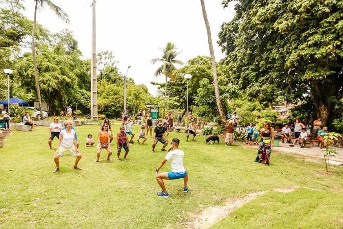 Atividades físicas marcaram a inauguração da área. Foto: Andréa Rêgo Barros/PCR/Divulgação.