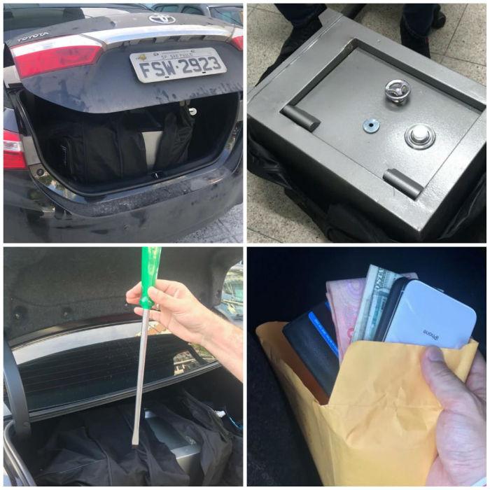 Com os suspeitos foi encontrado um cofre roubado de um apartamento nas Torres Gêmeas. Foto: Polícia Civil/divulgação