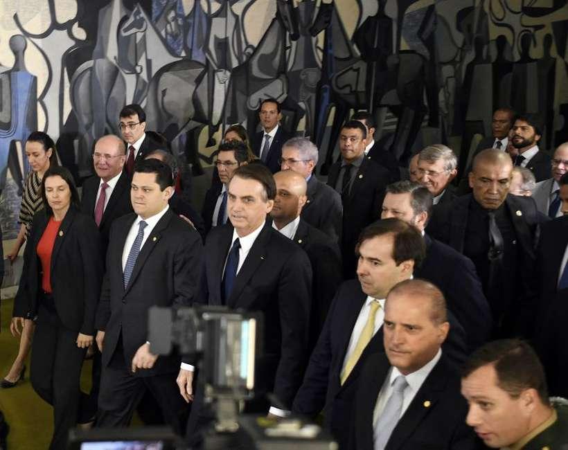 O chefe do Executivo e seus principais articuladores se encontraram com os presidentes da Câmara e do Senado. Foto: Ed Alves/CB/D.A Press