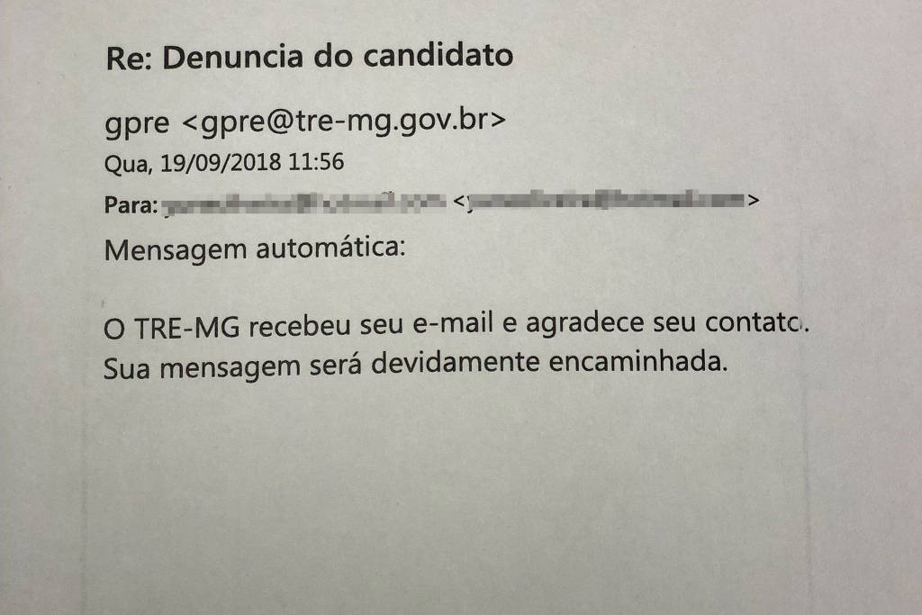 Resposta do TRE-MG após email enviado pela candidata Zuleide. Foto: Reprodução